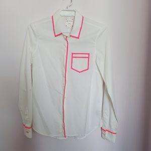 PINK TARTAN - colour trim blouse sz 4